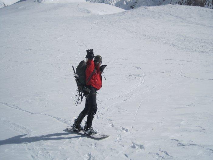 konstantin pullharder pose  on mt hood descent