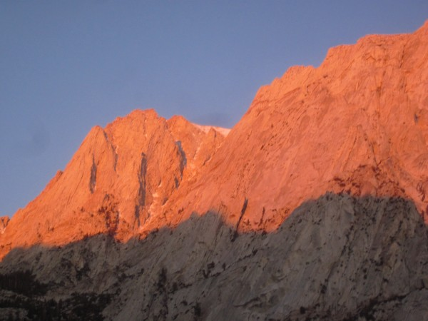 South Face of Lone Pine Peak at Sunrise. MSMR climbs the face just right of center.