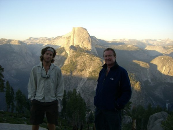 My dad and I having a dinner with a view in 2006