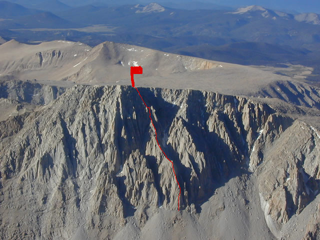 """Aerial photo showing the route.  """"Rest and be Thankful"""" is the far left arete."""
