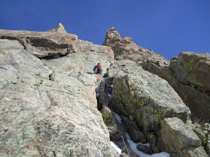 Chris Sheridan leading up into the Petit Gully in RMNP, Colorado