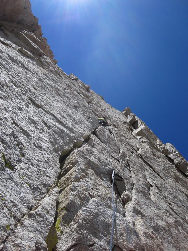 A heady lead up the headwall