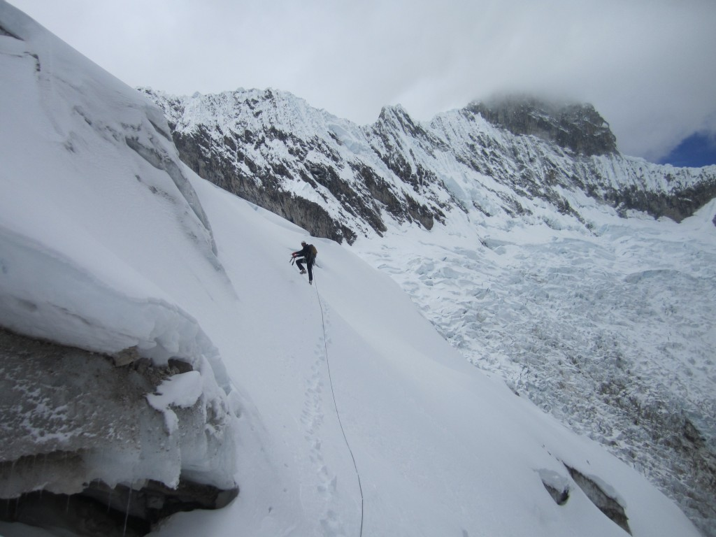 Fred traversing across the glacier en route to the south face