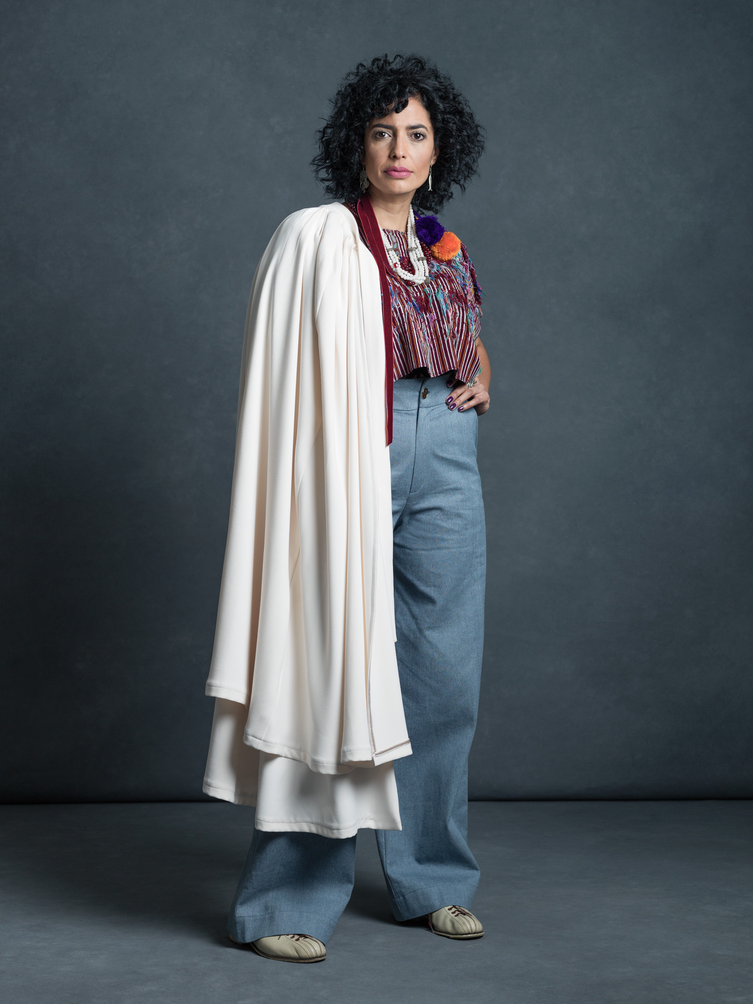 The Legacy Innovator - Maria Cecilia Diaz in the Janis Pants and Gloria Cape.