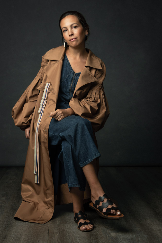 The Handmade Woman - Cecilia Pirani in The Prime Trench Coat in Rubber with Rigatto Ribbons from our Intimacy collection