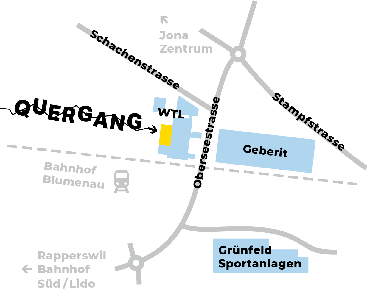 Standort Quergang 2.0: Schachenstrasse 82 in 8645 Rapperswil-Jona.