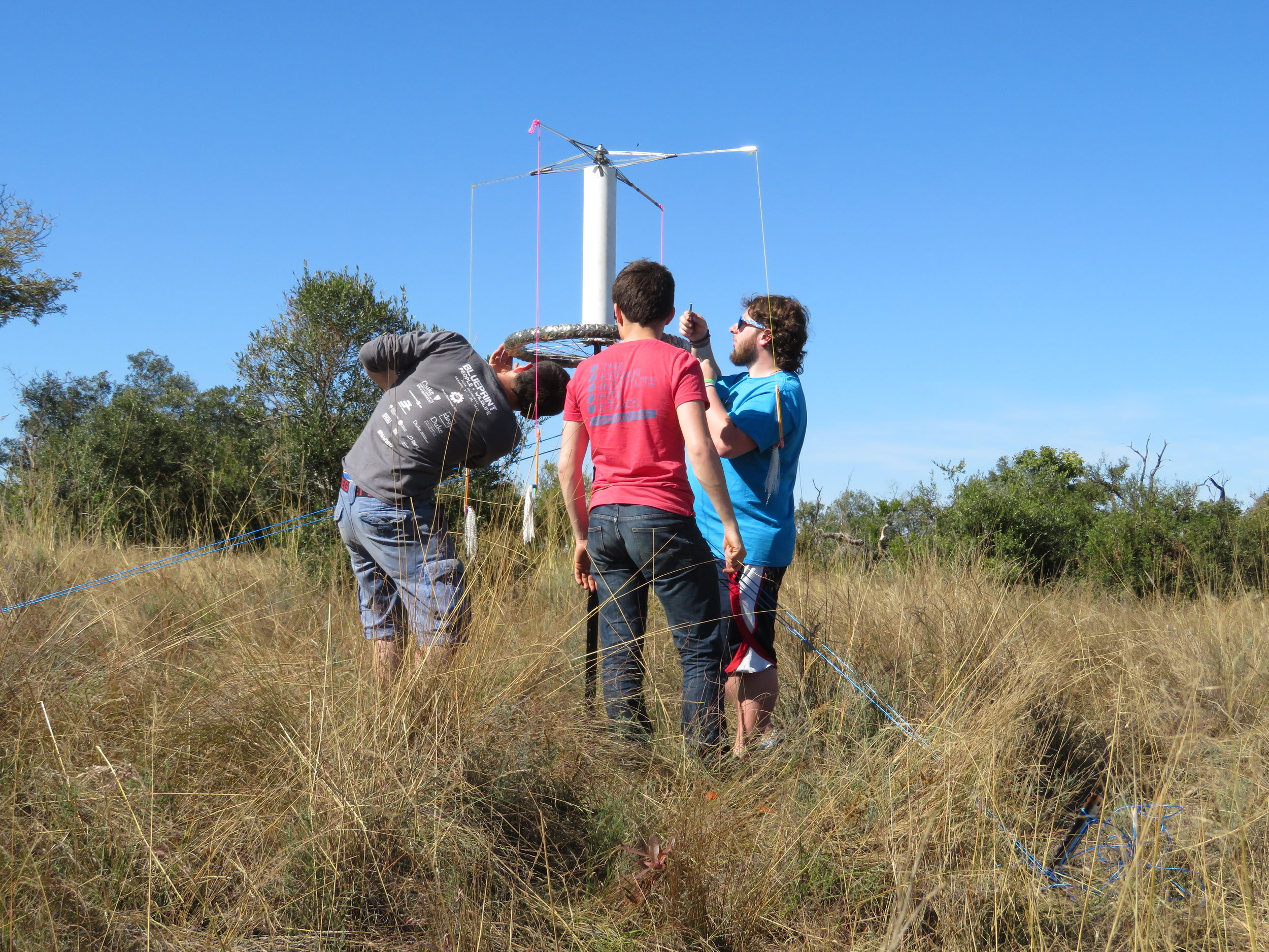 Students building a noise making device to help with human-elephant conflict.
