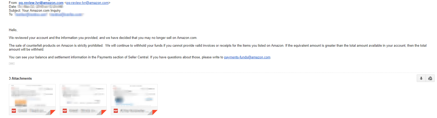 Email from Amazon informing me that I may no longer sell on Amazon.com after sending my first appeal - worst feeling ever..
