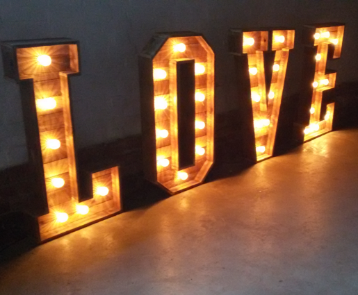 shabby chic love sign - Beautiful illuminated LOVE sign made from reclaimed timber available for wedding hire in Gloucestershire and The Cotswolds.Height 1200mm