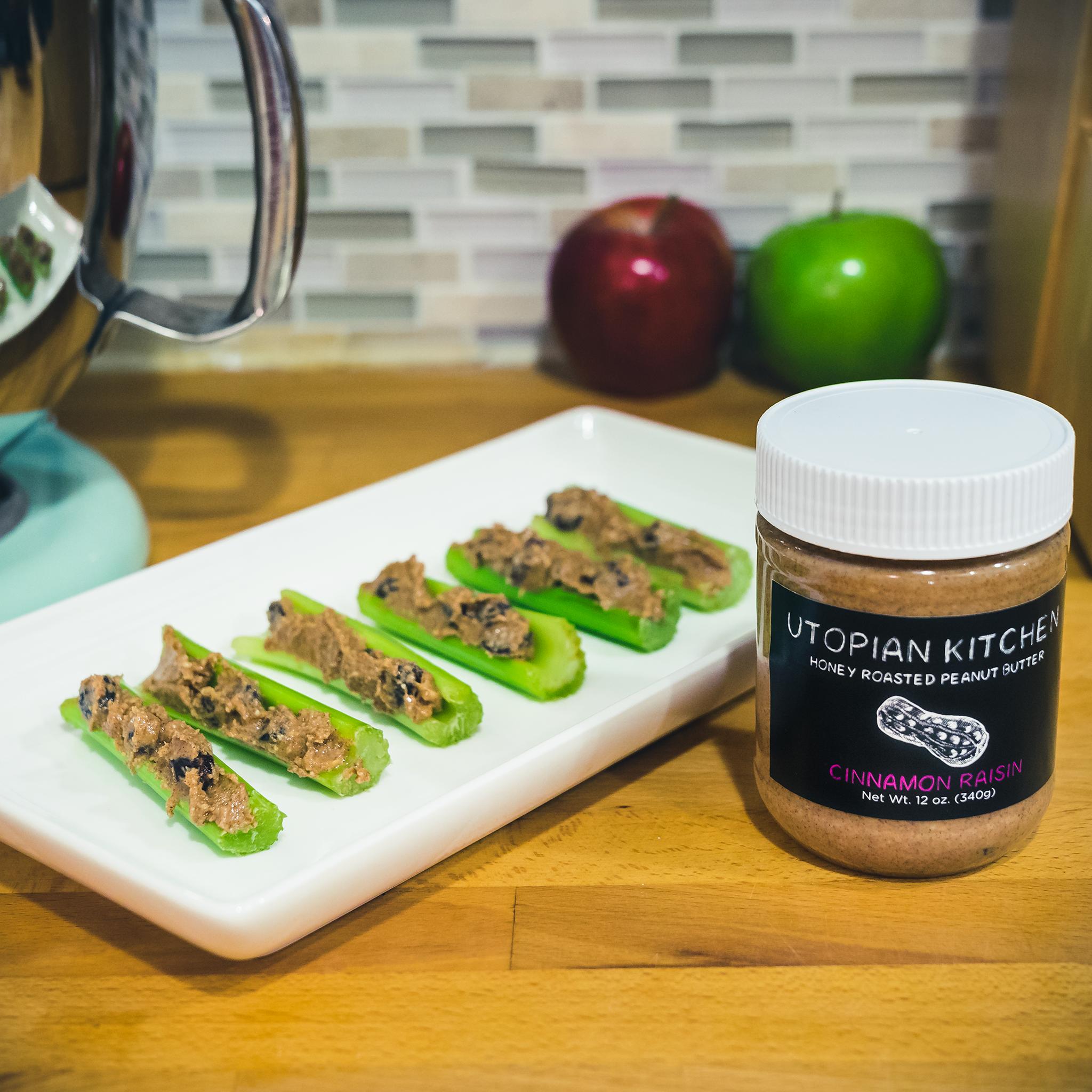 Cinnamon Raisin PB & Celery - Ants on a log!