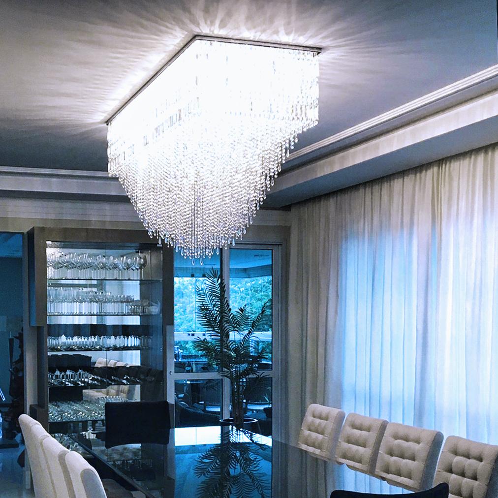 Plafon Damasco de 180cm x 60cm, ambientado em sala de jantar.