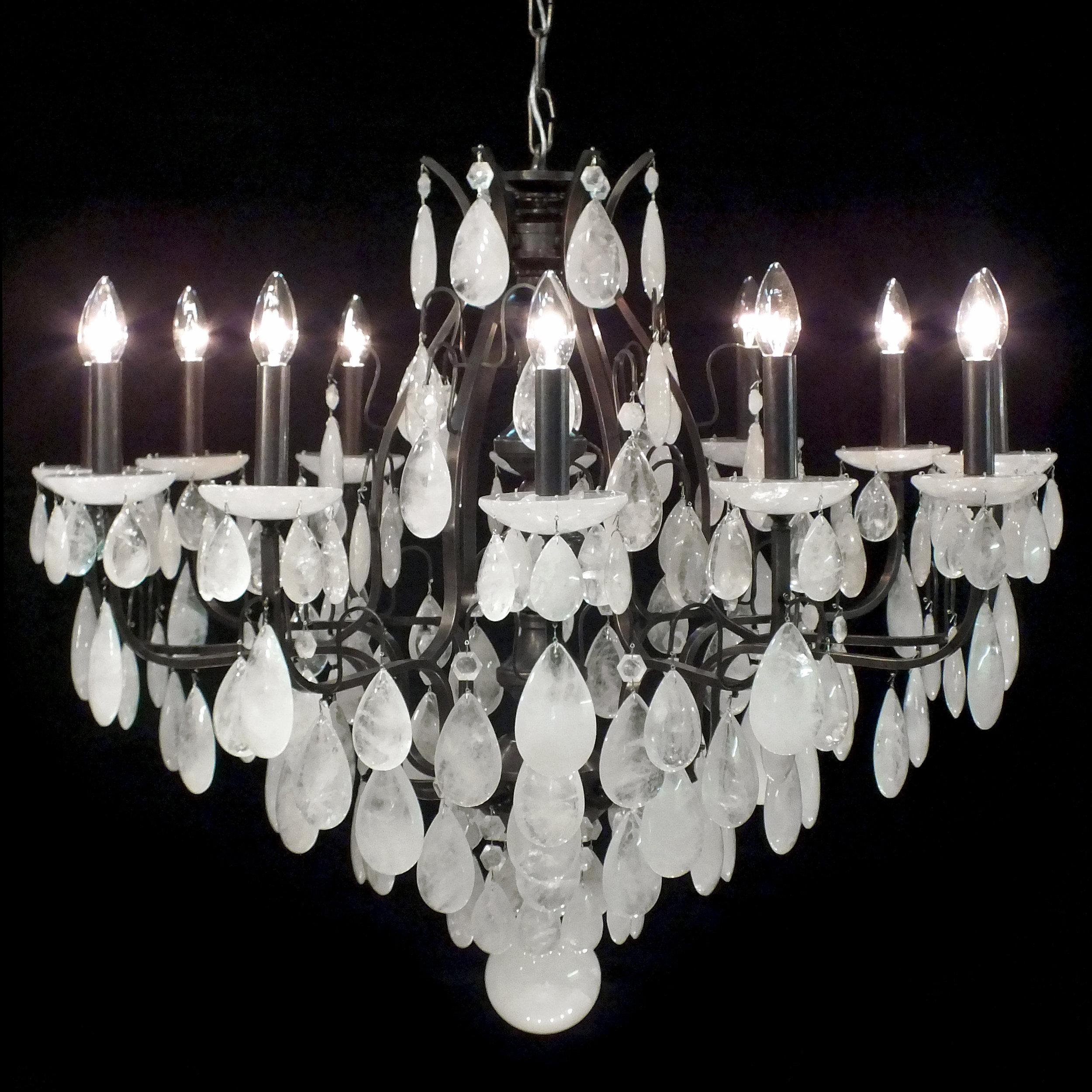 Lustre Sevilha 12 braços em cristal de rocha quartzo branco.