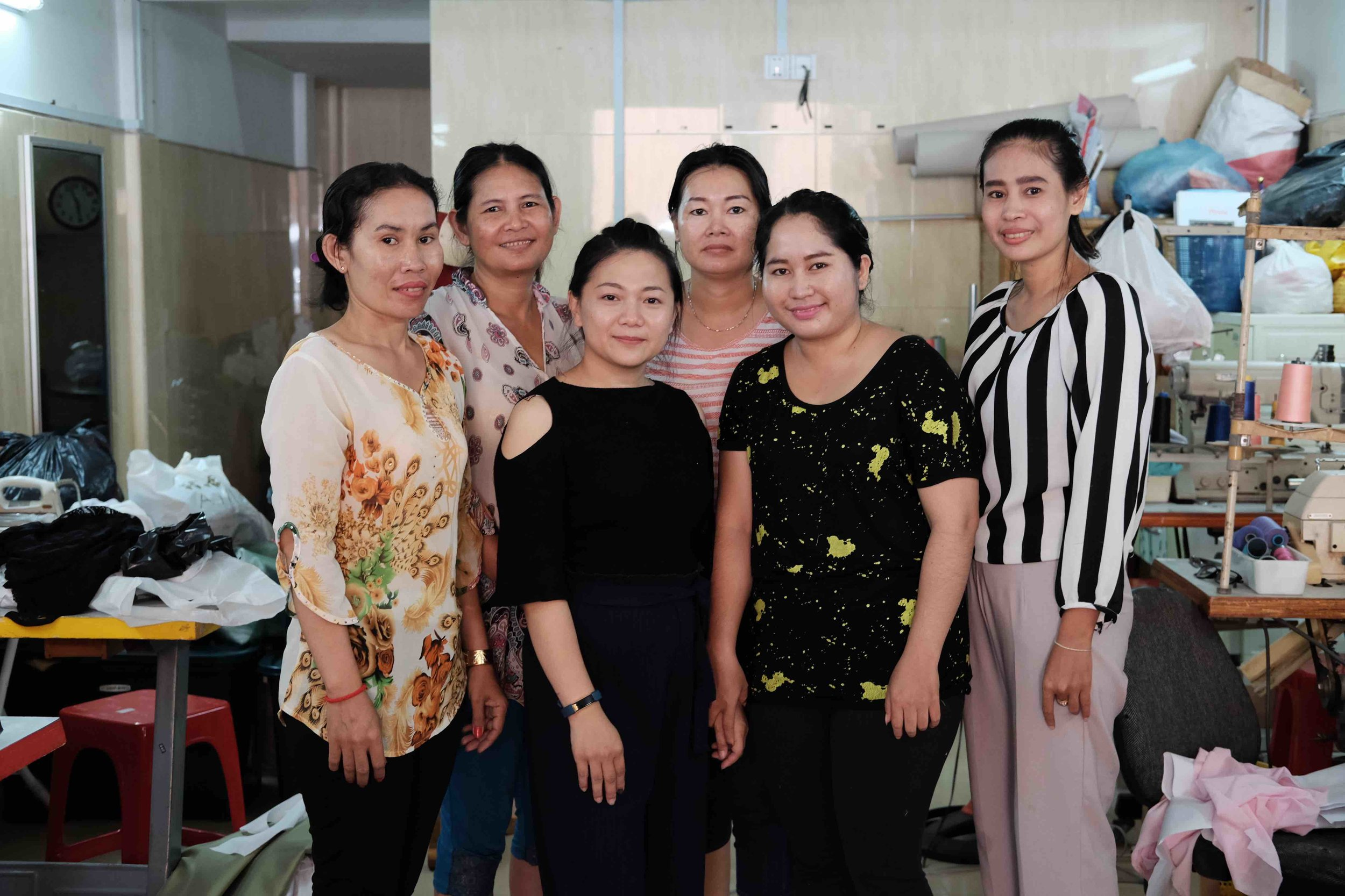 Sreypov and some members of her team at the Hope for Women tailor shop