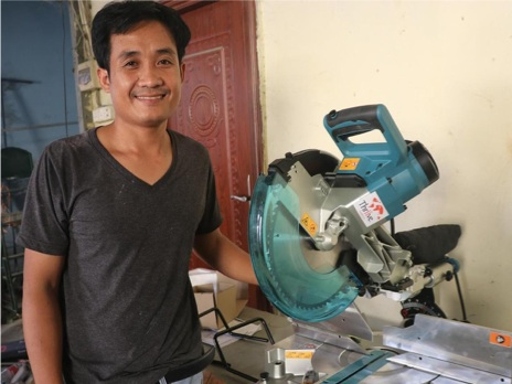 DAC Carpentry   Mr. Khem Chantra is passionate about building quality wood furniture of various designs for wholesalers while being a supplier to retailers. A grant of $6,835 has provided him with 8 new carpentry machines to scale up his business, build his products in-house, decrease his operating expense, meet increasing customer demand, and increase his product offerings. For his repayments, he is training 10 people in carpentry skills to increase their job opportunities.