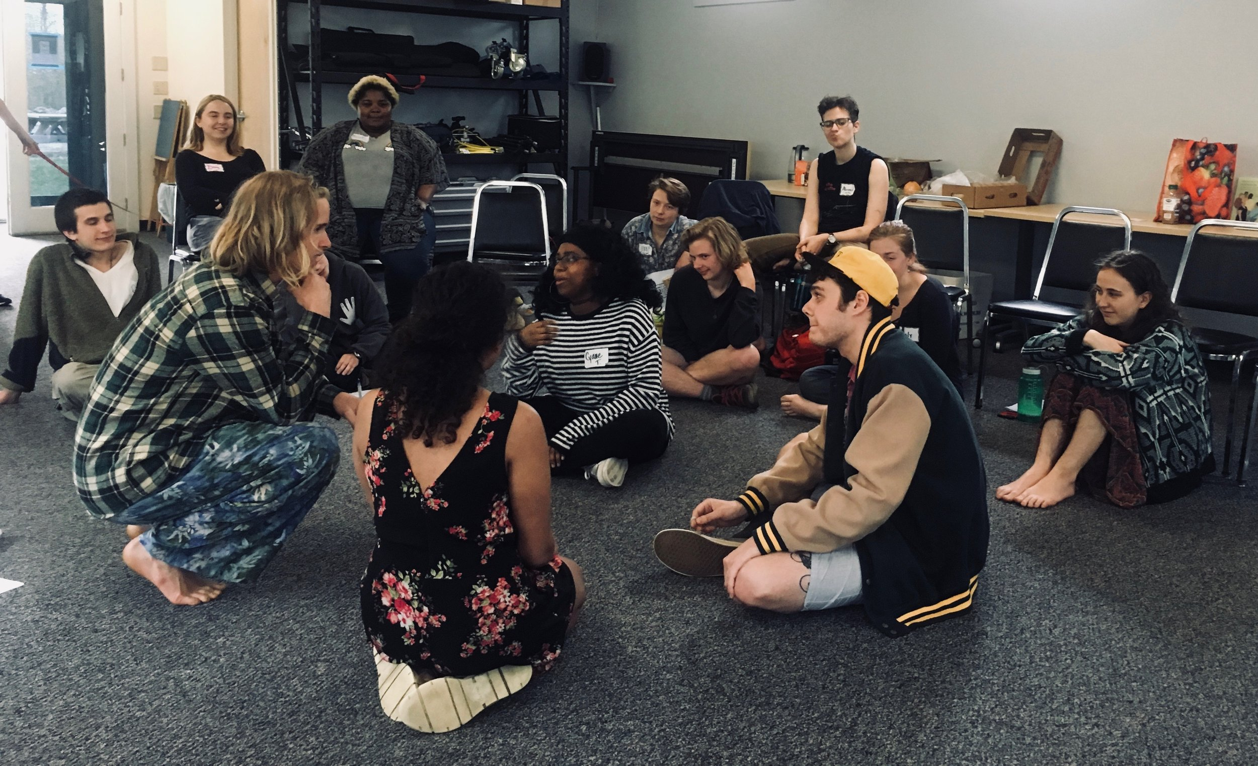 In the photo to the left student leaders share with Marlboro College staff and faculty what it is like to be a student of color on campus and their demands for racial equity. In the photo above student leaders at Marlboro College role-play unjust situations and how to respond. Spring 2018.