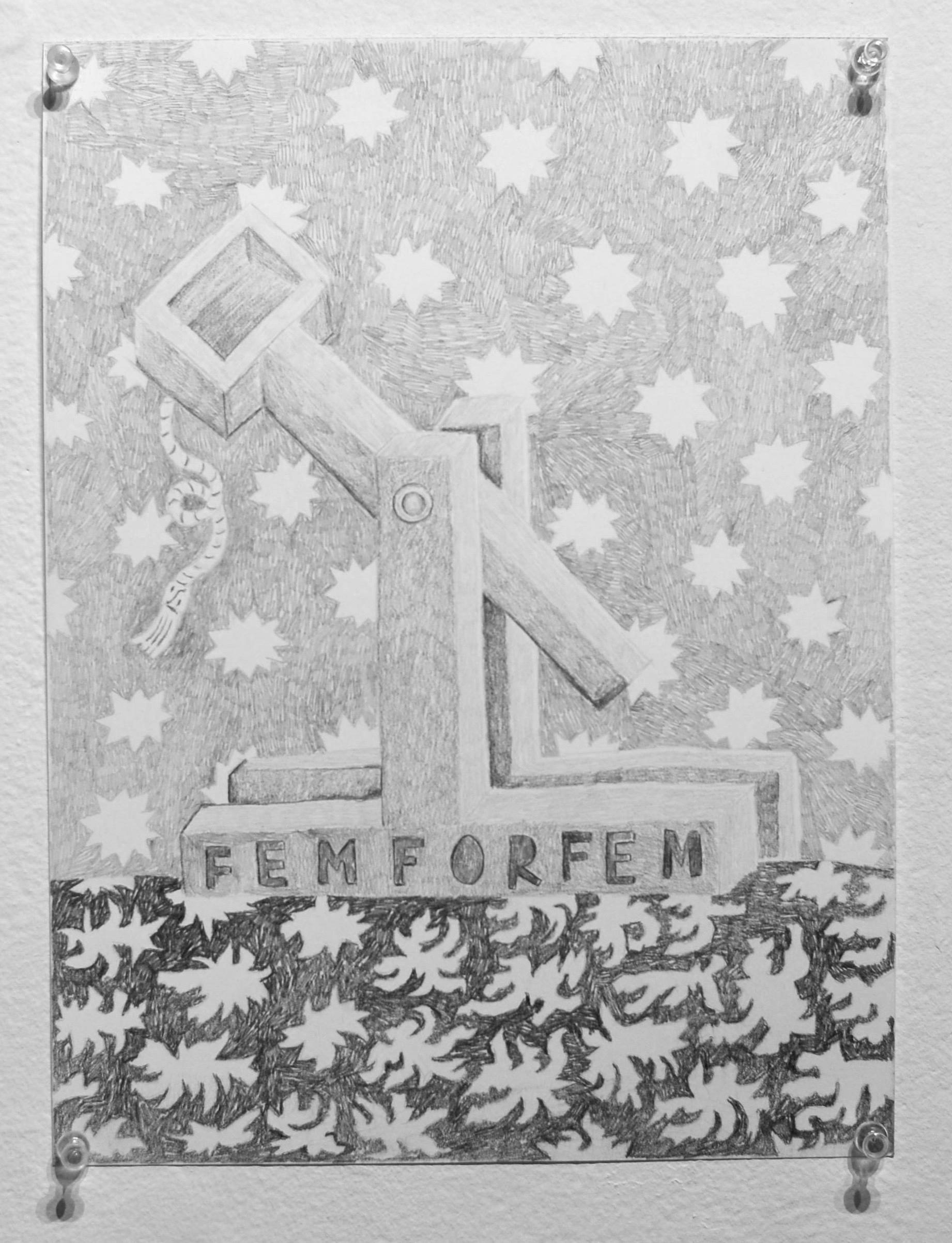 "femforfem, 9x12"", graphite on paper, 2018"