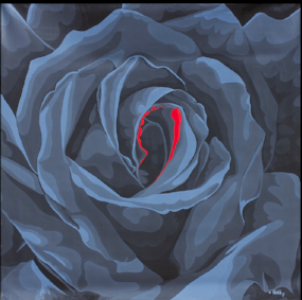 "Superrose in Gray, Benini 1974, 64"" x 64"""