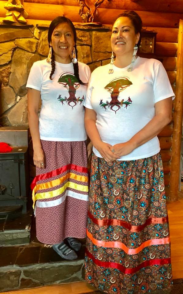Two of the participants, Lynnette Adams and Lori High Elk, at the gathering wearing our Seeding Sovereignty shirts!  - Photo Credit: Christine Nobiss