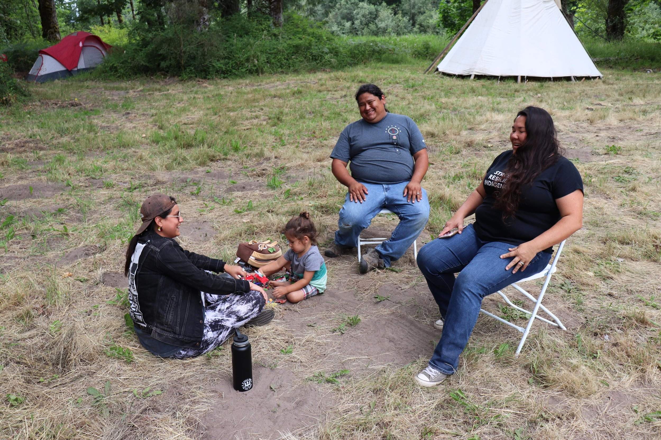 Seeding Sovereignty board member Linda Black Elk, with family.