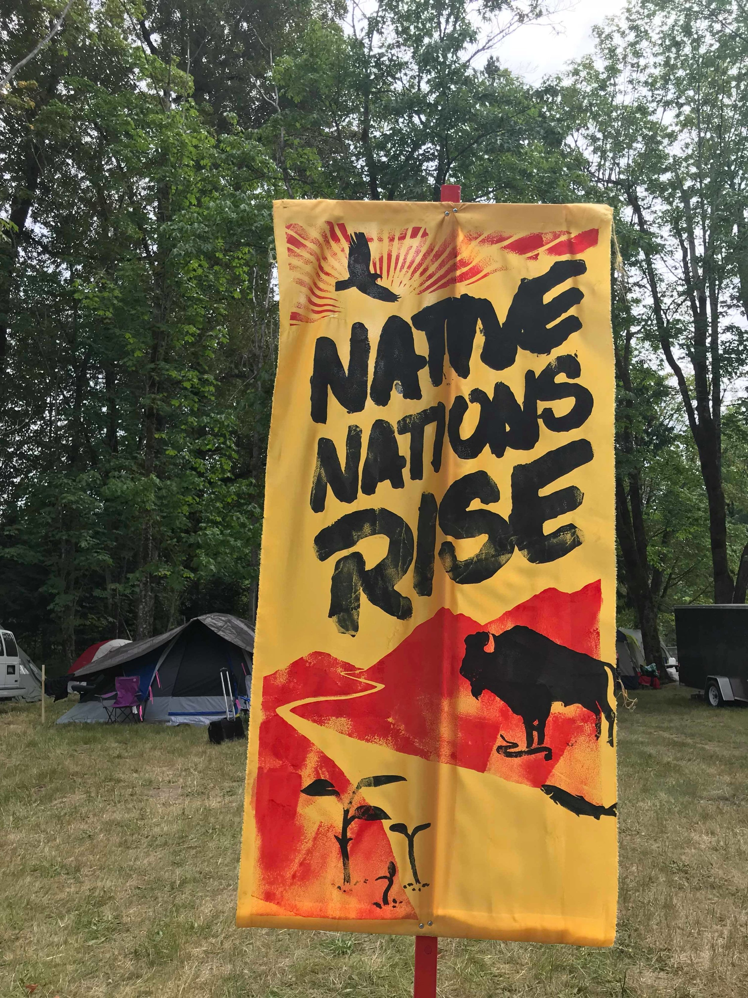Banner from the Native Nations Rise march in Washington, D.C., 2017.