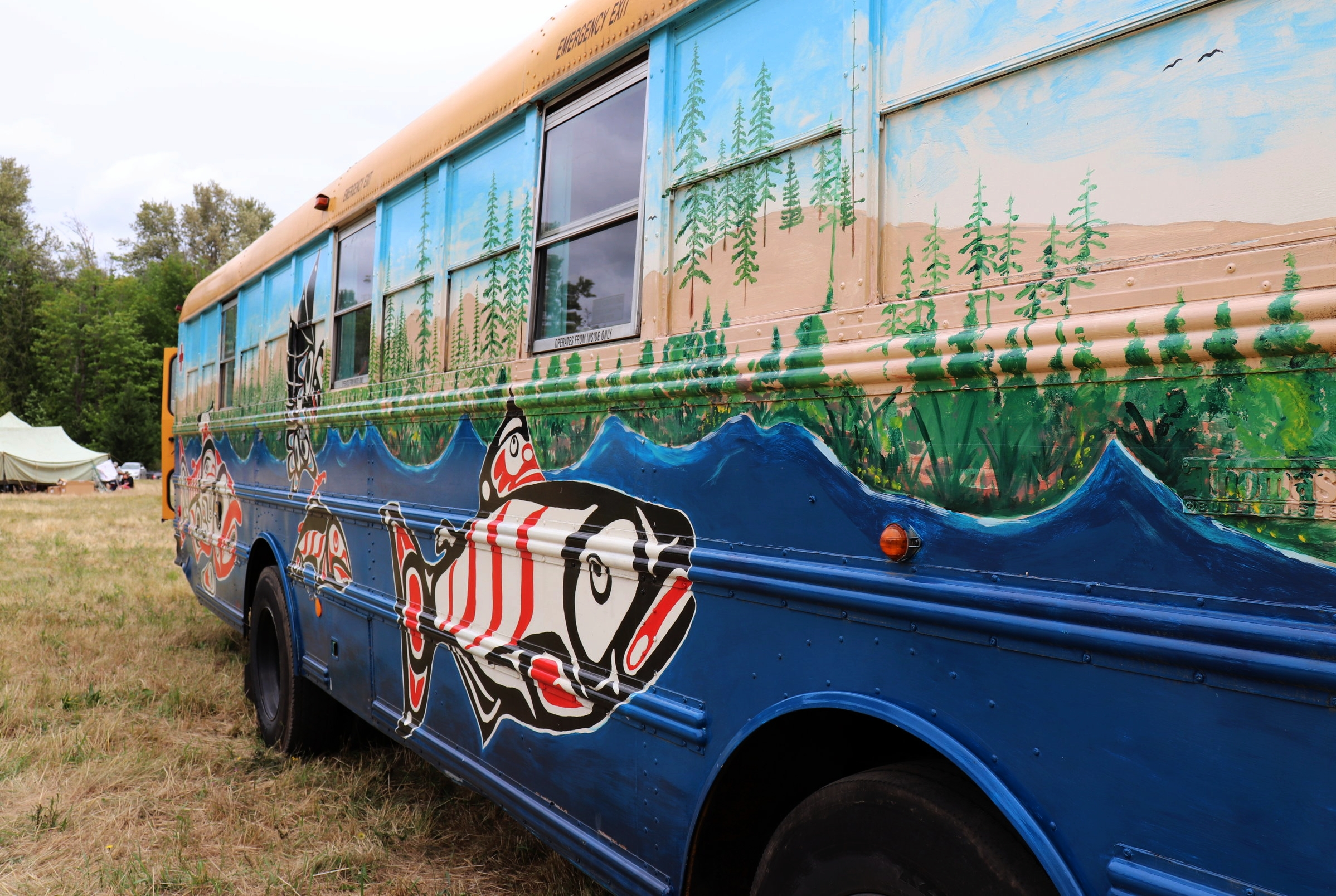 Former bus kitchen used in Standing Rock turned into a mobile apothecary for herbalists and healers that are part of the Canoe Journey Herbalist collective.