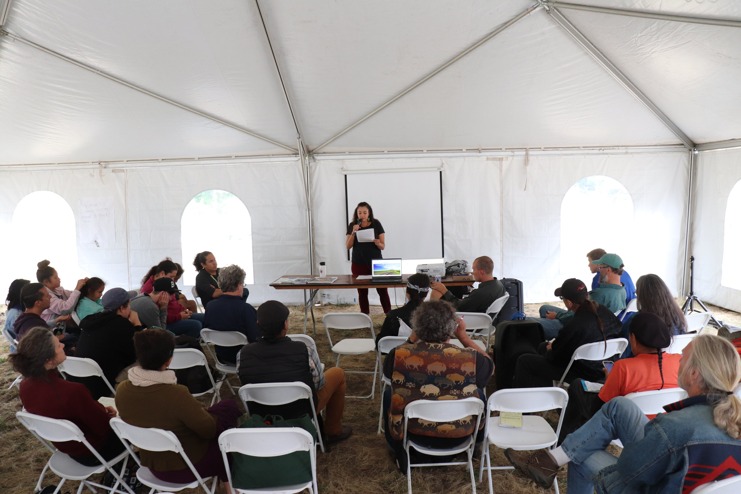 "Seeding Sovereignty's Christine Nobiss speaking during her session, ""Iowa: Colonized Landscape on Turtle Island; An Indigenous Perspective."""