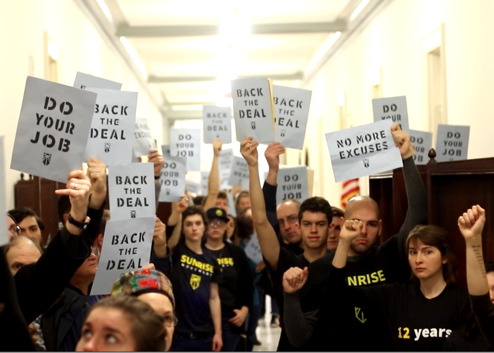 THE YOUTH ARE HERE AND THEY'RE NOT LEAVING UNTIL WE HAVE A GREEN NEW DEAL. - Dec 12, 2018- Seeding Sovereignty joined over 1000 youth from the Sunrise Movement who flooded the Halls of Congress to demand their representatives support a Select Committee on a Green New Deal.
