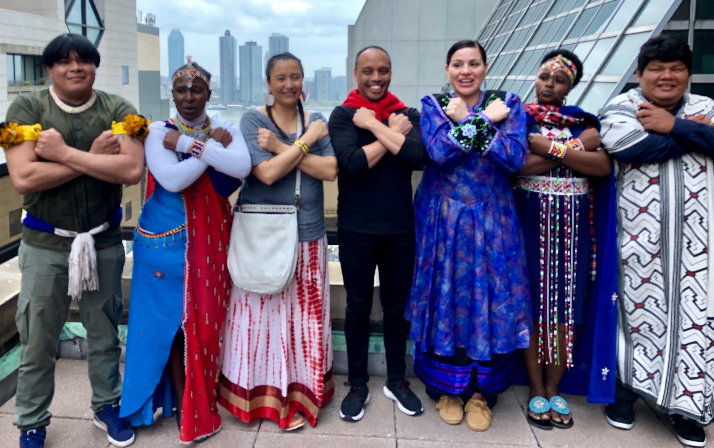 The Abolish Border Imperialism Intervention Group at the Project Access Training: From left to right - Aira Kamaiura, Nasianta Ene Meeli, Christine Nobiss, Karissa John, Ghazali Ohorella, Emily Lerosion, and Lucas Manchineri.