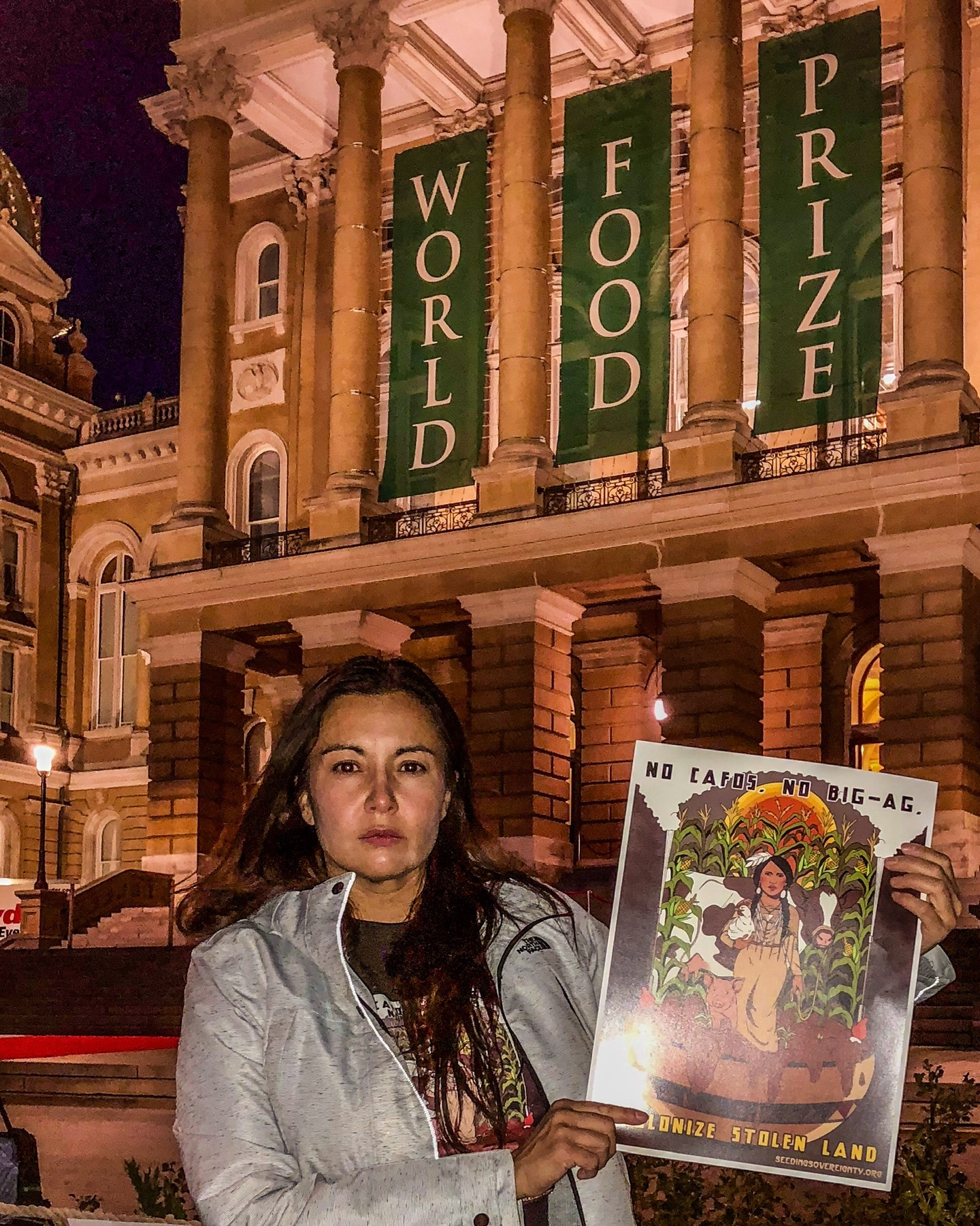 During the World Food Prize in Des Moines in October 2018, Christine spoke at a protest alongside local organizers and farmers.