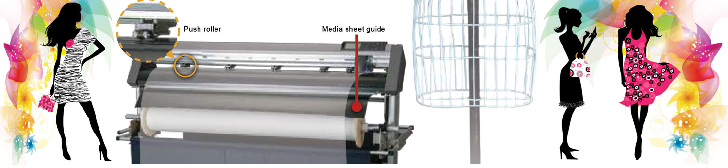 Graphtec CE6000 AP, enhanced speed when perforation cutting, push roller, media sheet guide