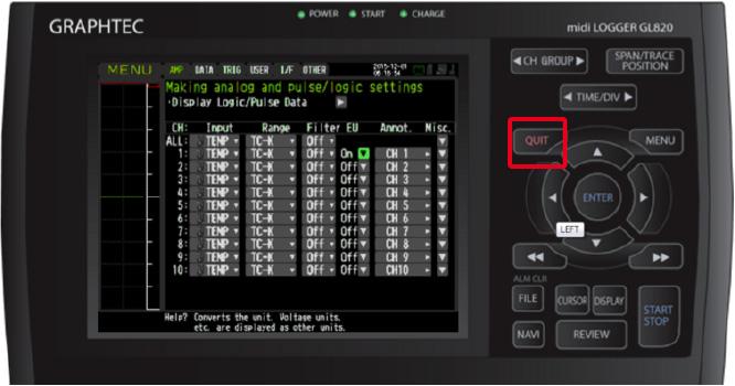 Graphtec Data Logger GL900 Adjust Temperature to Zero Step 5