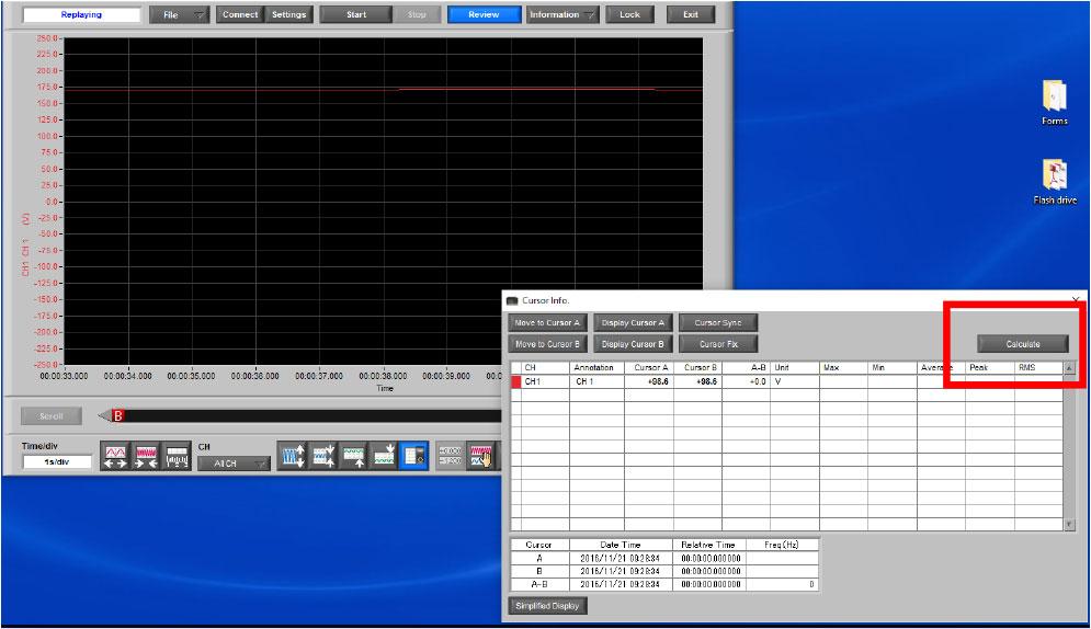 Graphtec Data Logger GL900 Reading RMS on GL900 Step 5