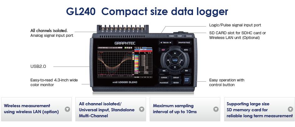 GRAPHTEC GL240 MIDI DATA LOGGER COMPACT SIZE DATA LOGGER