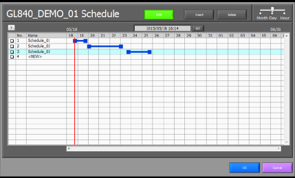 Set recording schedule easily by dragging the mouse and selecting date and time