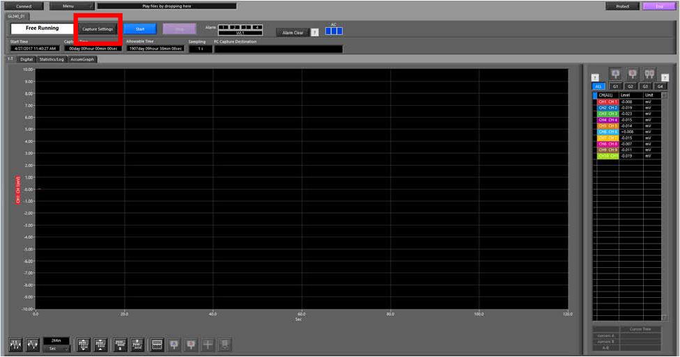 Graphtec Data Logger Data Platform Setting Up Alarm on GL Series Step 1