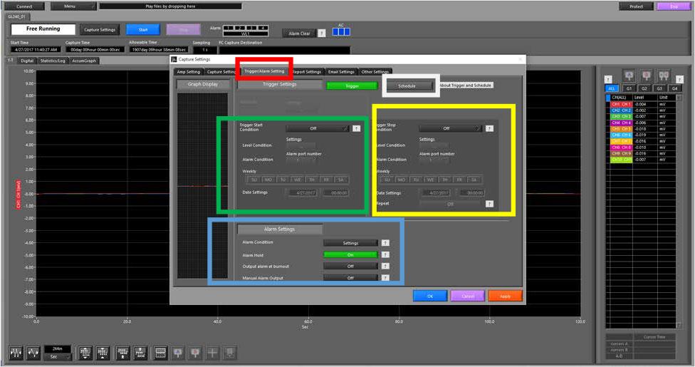 Graphtec Data Logger Data Platform Setting Up Alarm on GL Series Step 2