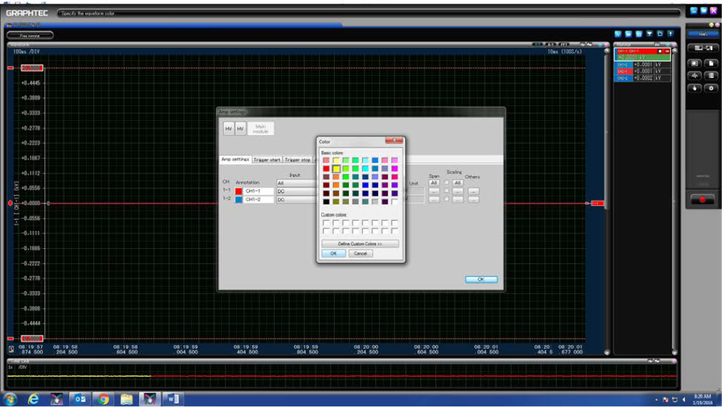 GRAPHTEC GL7000 SEPERATE CHANNELS AND TURNING ON SCALE DISPLAY ON GL7000 STEP 5