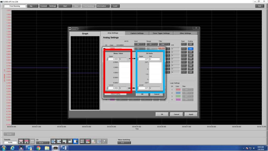 Graphtec Data Logger Data Platform Adjusting Scaling to Compensate Voltage Loss or Gain Step 4