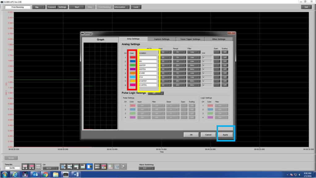 Graphtec Data Logger Data Platform How To Name and Label Channels Step 3