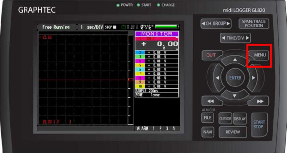 Graphtec Data Logger Data Platform Adjusting Temperature to Zero Step 1
