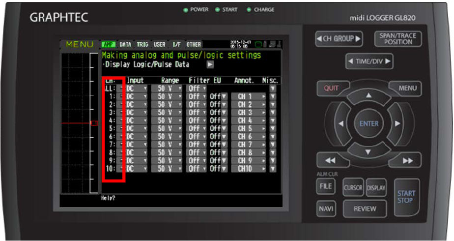 Graphtec Data Logger Data Platform Adjusting Temperature to Zero Step 2