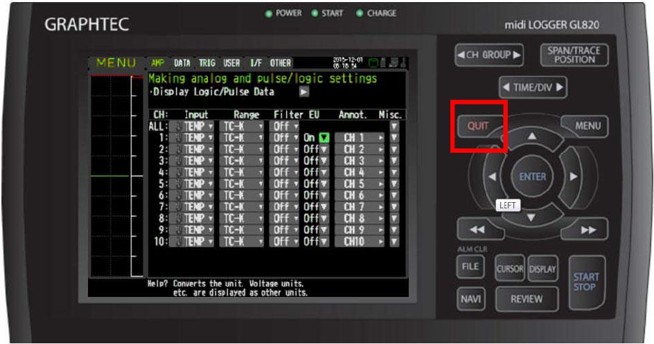 Graphtec Data Logger Data Platform Adjusting Temperature to Zero Step 5