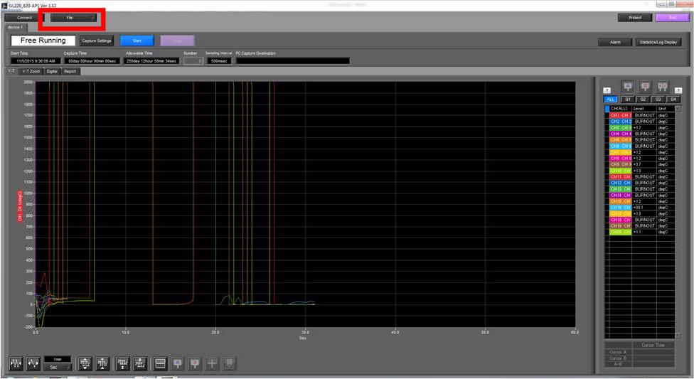 Graphtec Data Logger Data Platform How To Print or Save Displays on GL220 GL820 GL900 GL7000 Step 2