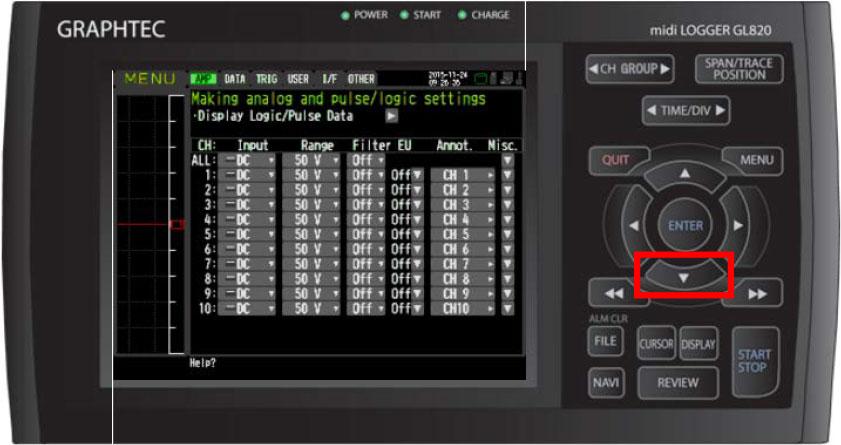 Graphtec Data Logger Data Platform Turning on Pulse Logic Inputs using B-513 Cable Step 2