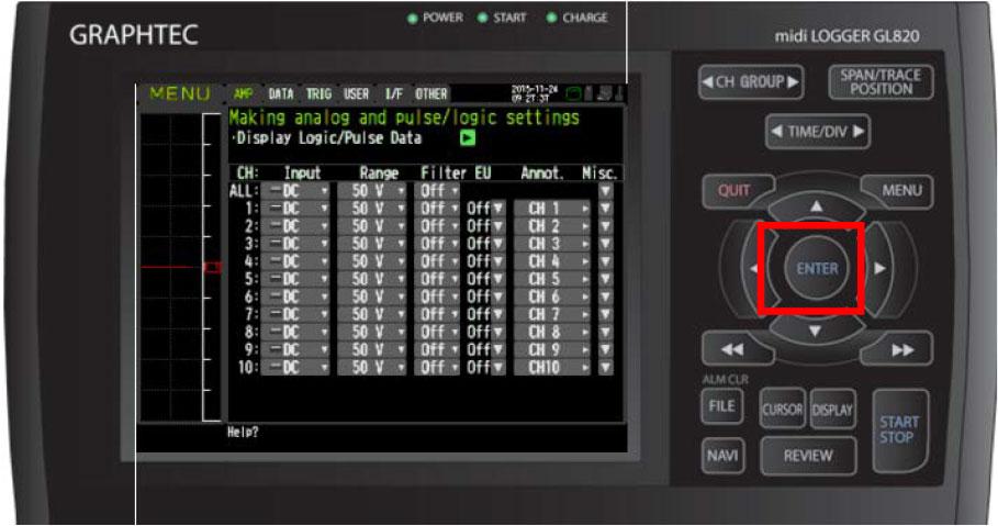 Graphtec Data Logger Data Platform Turning on Pulse Logic Inputs using B-513 Cable Step 3