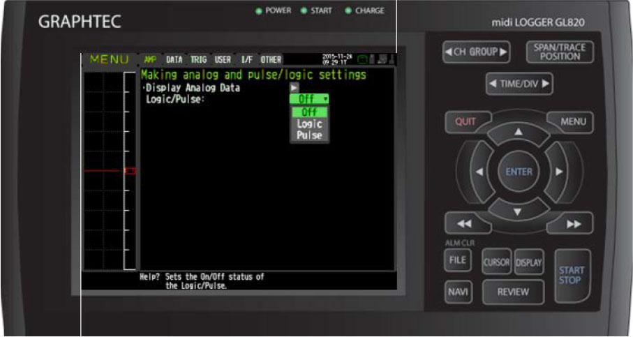 Graphtec Data Logger Data Platform Turning on Pulse Logic Inputs using B-513 Cable Step 4