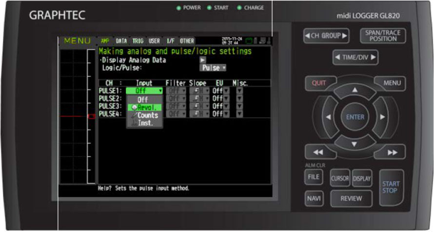 Graphtec Data Logger Data Platform Turning on Pulse Logic Inputs using B-513 Cable Step 5