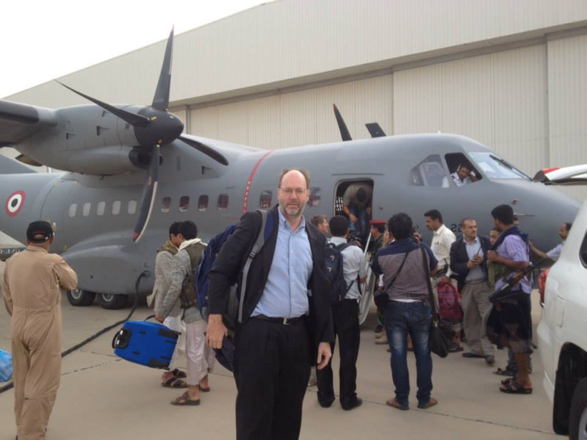 Dr. Williams en route to the peace negotiations in Sa'ada, Yemen.