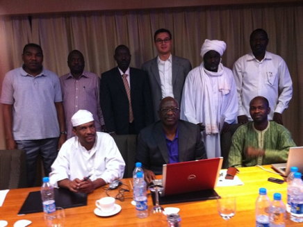 Matt Simpson of PILPG with the LJM Wealth-Sharing Committee while PILPG serves as  legal counsel to the Darfuri delegation during the Doha Peace Talks with the Government of Sudan