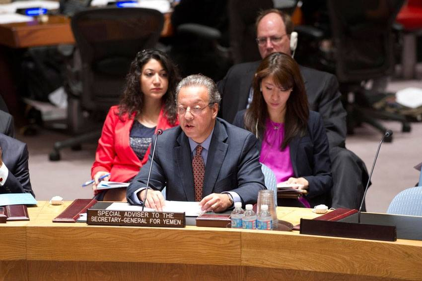 Dr. Paul Williams with UN Envoy Jamal Benomar at the UN Security Council briefing on Yemen .